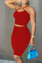 Red Sexy Casual Solid Backless Halter Sleeveless Two Pieces