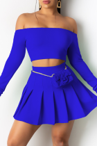 Blue Sexy Solid Split Joint Off the Shoulder Long Sleeve Two Pieces