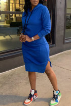 Blue Fashion Casual Solid Slit Hooded Collar Long Sleeve Dresses