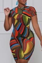 Red Sexy Print Split Joint Half A Turtleneck Pencil Skirt Dresses