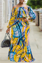 Yellow Fashion Casual Long Sleeve Bateau Neck Off The Shoulder Short Print Two Pieces