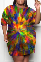 Rainbow Color Casual Print Split Joint O Neck Pencil Skirt Plus Size Dresses