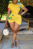 Yellow Sexy Patchwork Tie-dye O Neck Pencil Skirt Plus Size Dresses