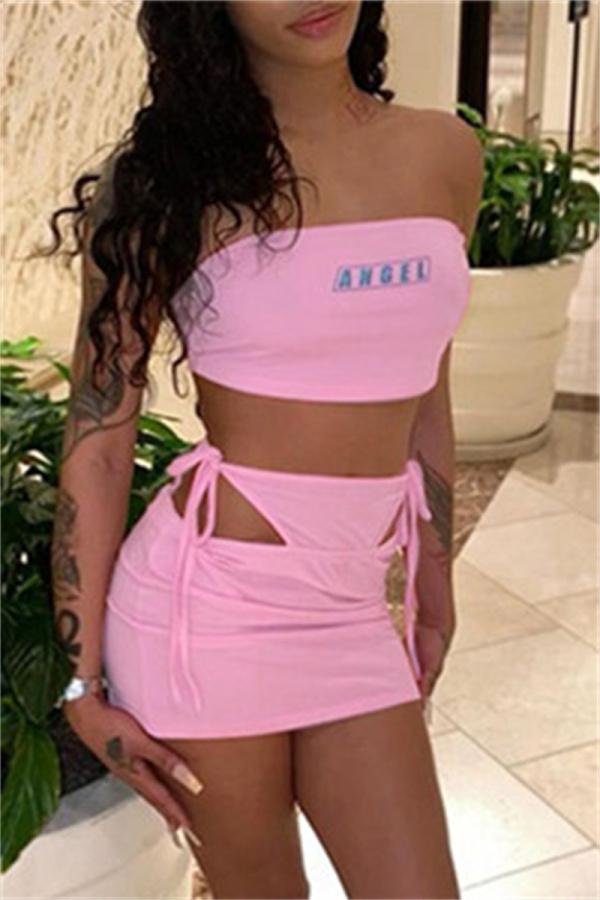 Pink Fashion Sexy Print Backless Strap Design Strapless Sleeveless Three-piece Set