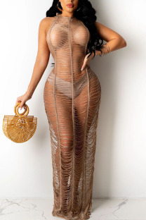 Brown Sexy Solid Hollowed Out Split Joint See-through Swimwears Cover Up