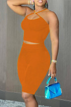 Orange Sexy Casual Solid Backless Halter Sleeveless Two Pieces