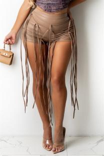 Khaki Fashion Casual Solid Tassel Skinny High Waist Shorts