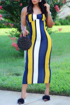 Yellow Fashion Sexy Striped Print Backless Spaghetti Strap Long Dress
