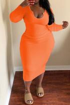 Orange Fashion Casual Plus Size Solid Basic U Neck Long Sleeve Dresses