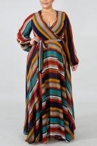 Brown Elegant Print Bandage Split Joint V Neck Printed Dress Dresses