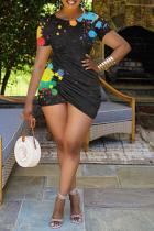 Black Sexy Patchwork Tie-dye O Neck Pencil Skirt Plus Size Dresses
