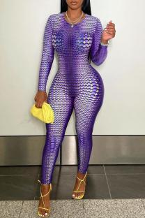 Purple Fashion Casual Print Basic O Neck Skinny Jumpsuits
