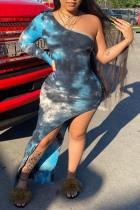 Blue Fashion Sexy Print Tie Dye Asymmetrical Oblique Collar Long Sleeve Dresses