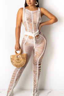 White Sexy Solid Hollowed Out Split Joint See-through O Neck Straight Jumpsuits