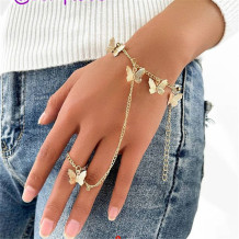 Gold Fashion Personalized Butterfly Pendant Bracelet