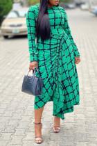 Green Fashion Casual Print Asymmetrical O Neck Long Sleeve Dresses