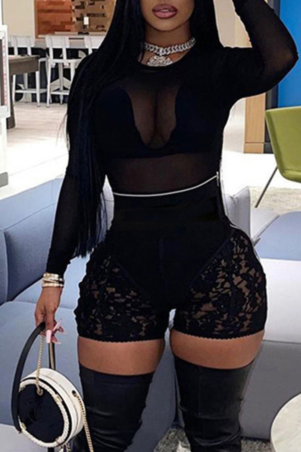 Black Sexy Solid Lace Split Joint See-through O Neck Long Sleeve Two Pieces