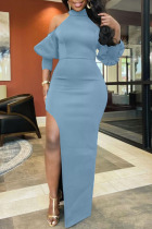 Light Blue Sexy Solid Split Joint High Opening Half A Turtleneck Straight Dresses