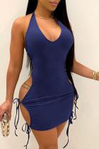 Royal Blue Sexy Solid Split Joint Halter Pencil Skirt Dresses