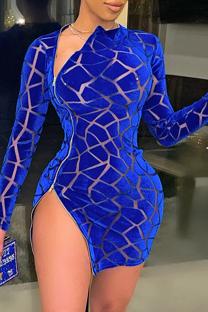 Blue Sexy Patchwork Mesh O Neck Irregular Dress Dresses