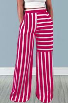 Red Casual Striped Print Split Joint Straight High Waist Straight Full Print Bottoms