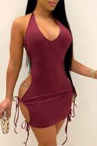 Burgundy Sexy Solid Split Joint Halter Pencil Skirt Dresses