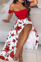 Red Sweet Print Split Joint Off the Shoulder Short Sleeve Two Pieces