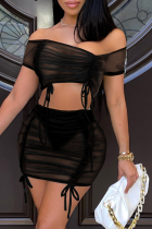Black Sexy Solid Mesh Off the Shoulder Short Sleeve Two Pieces