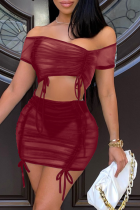 Burgundy Sexy Solid Mesh Off the Shoulder Short Sleeve Two Pieces