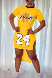 Yellow Fashion Casual Print Asymmetrical O Neck Short Sleeve Dress