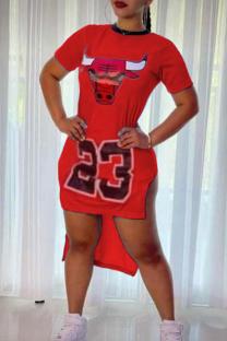 Red Fashion Casual Print Asymmetrical O Neck Short Sleeve Dress