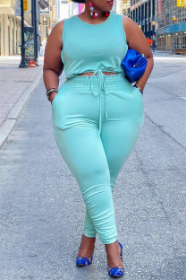 Sky Blue Fashion Casual Solid Vests Pants O Neck Plus Size Two Pieces