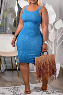 Blue Sexy Casual Solid Vests U Neck Sleeveless Dress