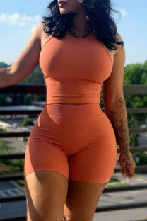 Orange Sexy Casual Solid Vests O Neck Sleeveless Two Pieces
