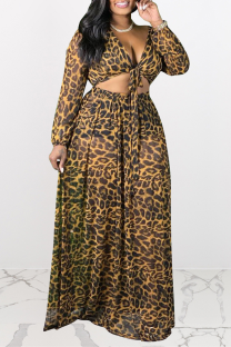Leopard Print Sexy Print Split Joint V Neck Cake Skirt Plus Size Two Pieces