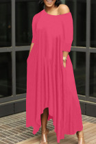 Rose Red Casual Solid Split Joint Asymmetrical O Neck Irregular Dress Dresses