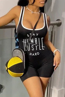 Black Sexy Casual Print Vests U Neck Skinny Romper