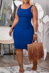 Deep Blue Sexy Casual Solid Vests U Neck Sleeveless Dress