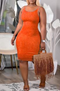 Orange Sexy Casual Solid Vests U Neck Sleeveless Dress