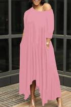 Pink Casual Solid Split Joint Asymmetrical O Neck Irregular Dress Dresses