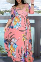 Pink Elegant Print Bandage Split Joint Slit V Neck Printed Dress Plus Size Dresses