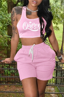 Pink Casual Sportswear Letter Print Vests U Neck Sleeveless Two Pieces(with pocket)