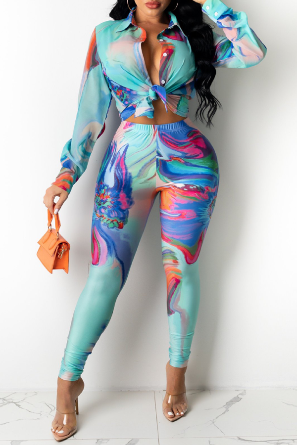 Blue Sexy Print Split Joint Turndown Collar Long Sleeve Two Pieces
