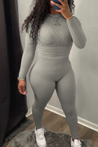 Grey Simplicity Solid Split Joint O Neck Long Sleeve Two Pieces