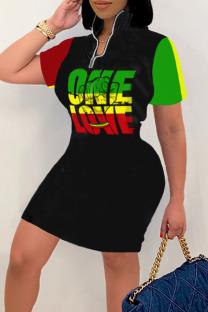 Black Green Street Print Split Joint Zipper Collar Straight Dresses