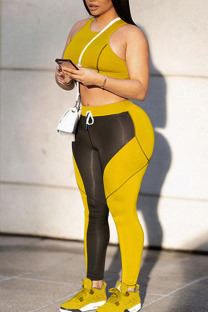Yellow Sportswear Solid Split Joint  Contrast O Neck Sleeveless Two Pieces
