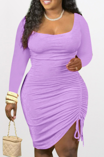 Purple Sexy Solid Split Joint Square Collar Pencil Skirt Dresses