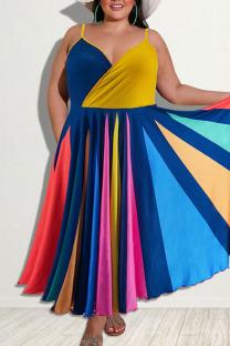 Yellow Casual Print Split Joint Spaghetti Strap Sling Dress Plus Size Dresses