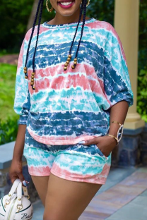 Blue Casual Print Backless O Neck Short Sleeve Two Pieces
