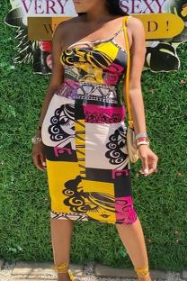Yellow Street Print Split Joint Spaghetti Strap Pencil Skirt Dresses